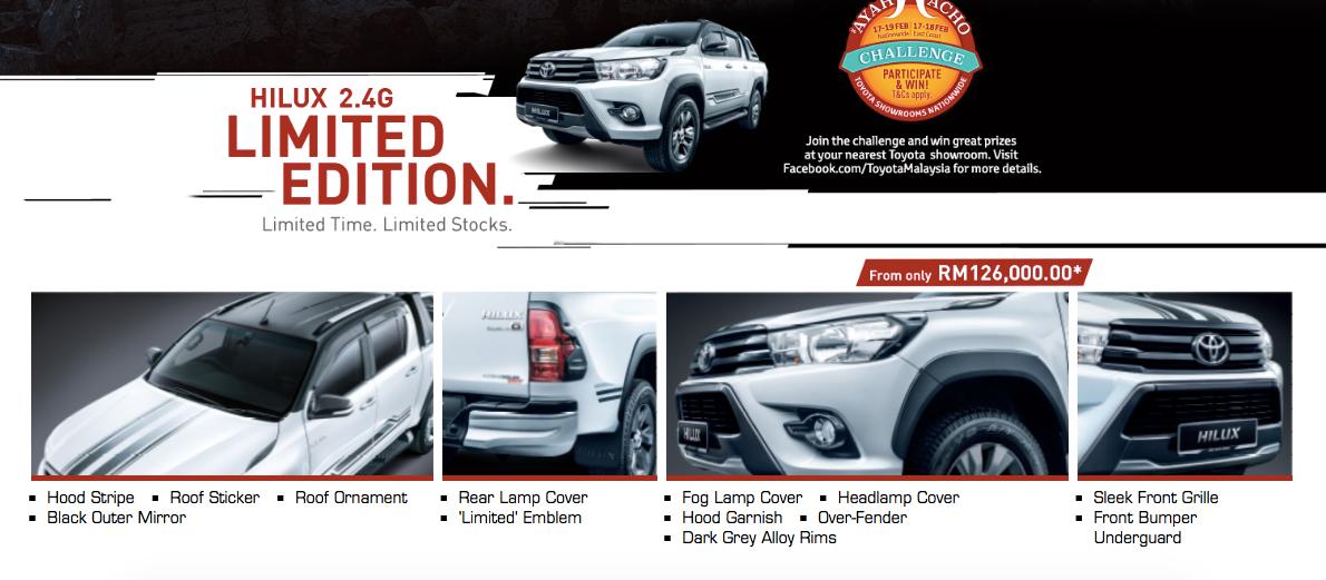 限量版登场 Toyota Hilux 2 4g Limited Edition Rm126k。 Hilux