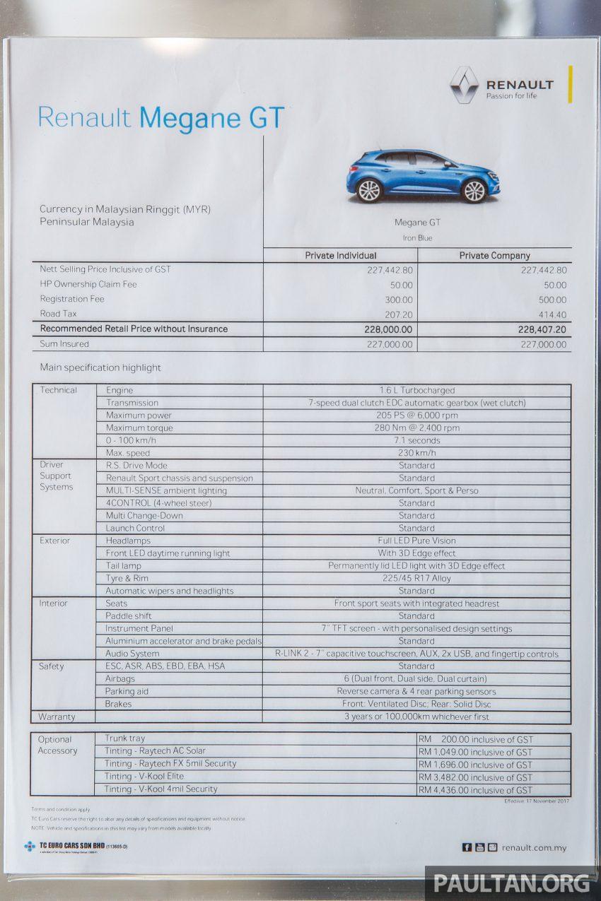 全新 Renault Megane GT 本地正式开售,要价RM228,000 Image #58536