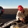 Expedition chief mechanic Paul Marsh ensuring that the Nissan Patrol's engine is well-protected