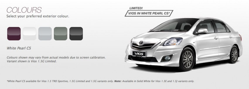 Toyota Vios now available in White Pearl CS colour Image #172982