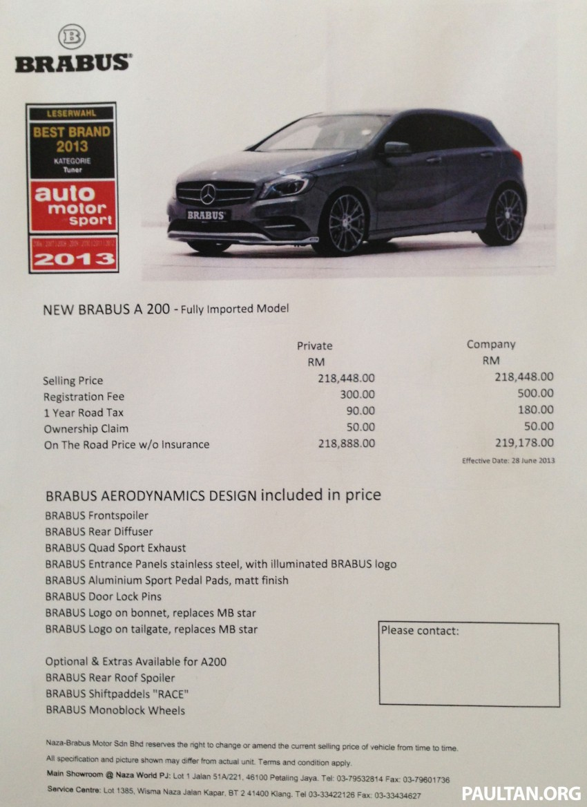 Brabus A-Class now available – A200 for RM218,888 Image #185630