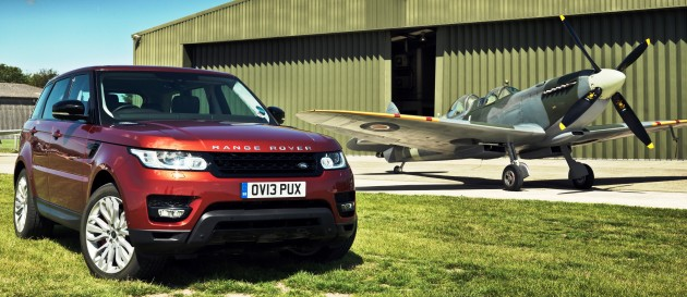 Range Rover Sport races a Spitfire at Goodwood