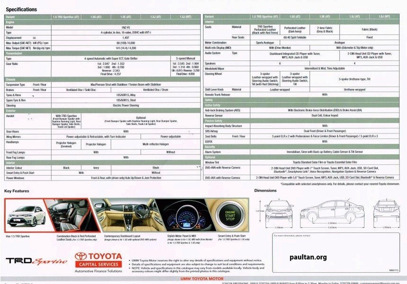 2013 Toyota Vios Specs List Pops Up On Oto My Paul Tan