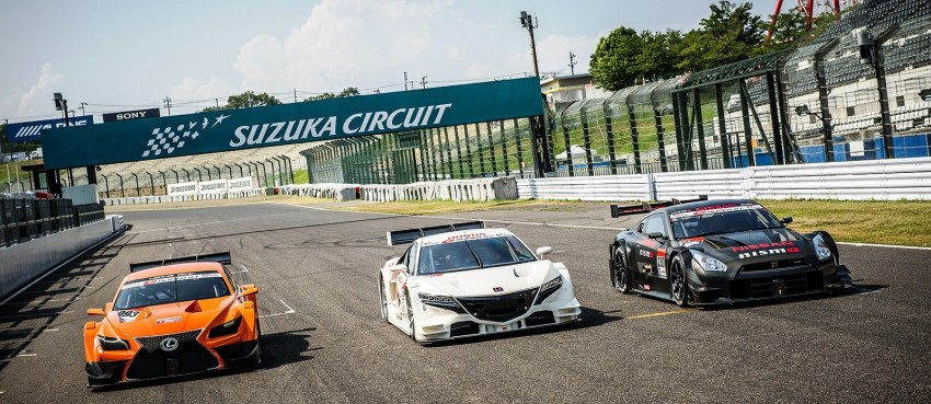Honda, Nissan and Lexus entrants for the 2014 Super GT series pictured together at the Suzuka circuit Image #193491