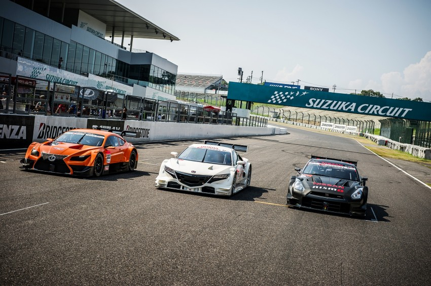 Honda, Nissan and Lexus entrants for the 2014 Super GT series pictured together at the Suzuka circuit Image #193494