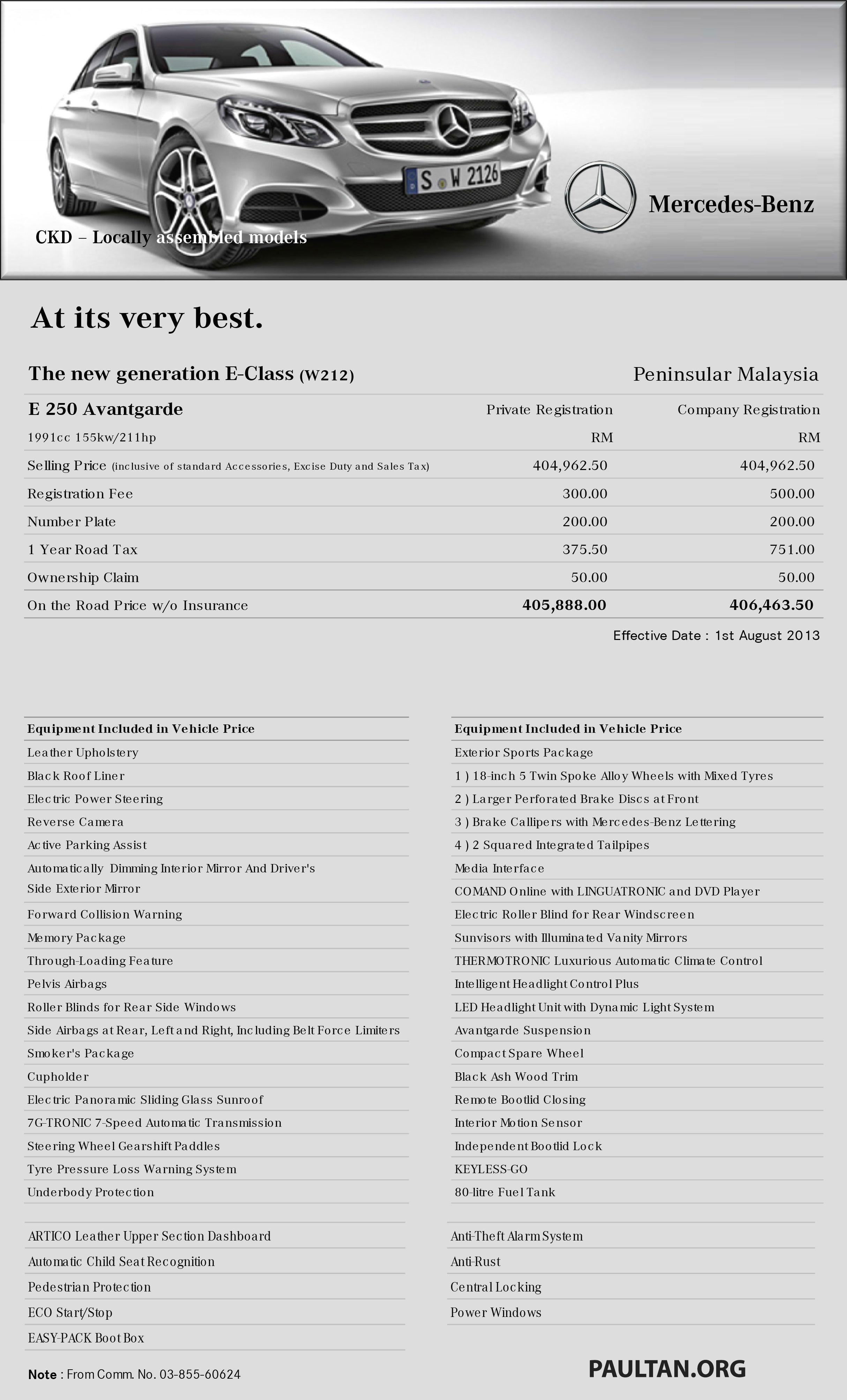 W212 Mercedes Benz E Class Facelift Malaysian Specs Released U2013 E200 And  E250 Avantgarde Paul Tan   Image 191239