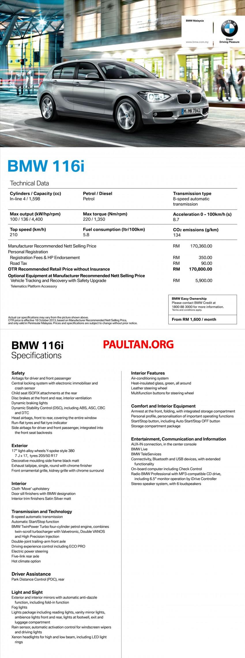 BMW 1 Series (F20) launched in Malaysia – 116i, 118i Sport/Urban, 125i Sport/M Sport, RM171k-254k Image #205394