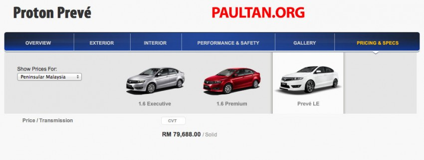 Proton Preve LE priced at RM79,688 – six airbags Image #205498