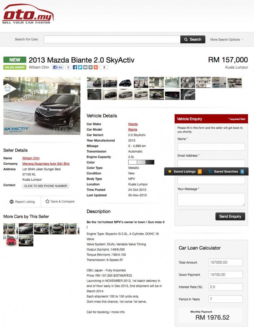 Mazda Biante 2.0 Skyactiv listed on oto.my – RM157k Image #207975