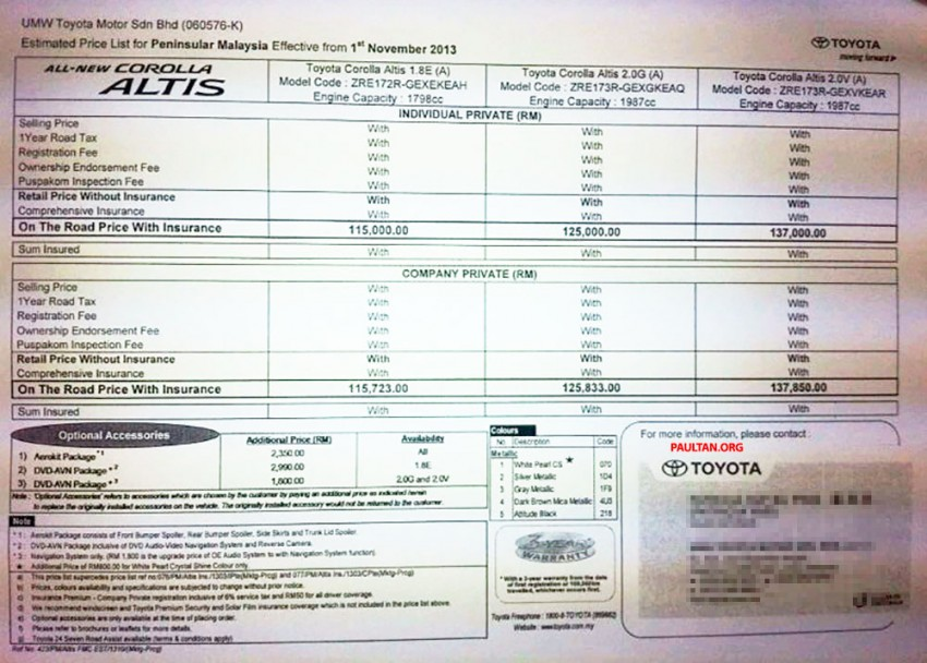 2014 Toyota Corolla Altis 1.8E, 2.0G and 2.0V estimated pricelist for Malaysia: RM115k to RM137k Image #207822