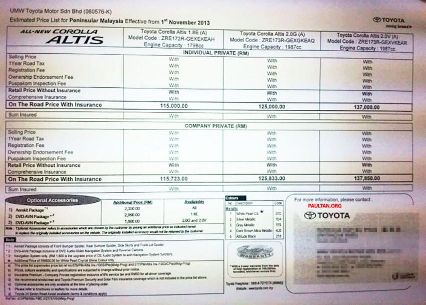 2014 Toyota Corolla Altis 1.8E, 2.0G and 2.0V estimated pricelist for Malaysia: RM115k to RM137k Image #207822