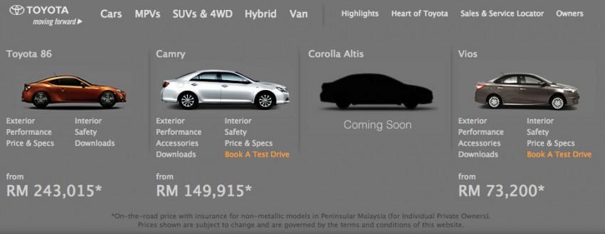 2014 Toyota Corolla Altis coming to Malaysia soon Image #207717