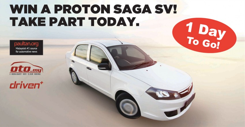 Win a Proton Saga SV 1.3 CVT with Driven+ and oto.my – just one more day to go to try to win it! Image #214795