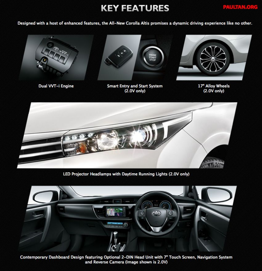 2014 Toyota Corolla Altis specs teased by UMW Toyota ahead of launch: 1.8E, 2.0G and 2.0V; RM115k-RM137k Image #217222