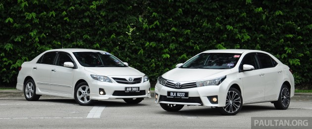 Old_new_2014_Toyota_Corolla_Altis_compared_ 001
