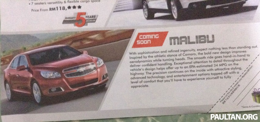 Chevrolet Malibu coming soon to Malaysia, D-segment Image #220178