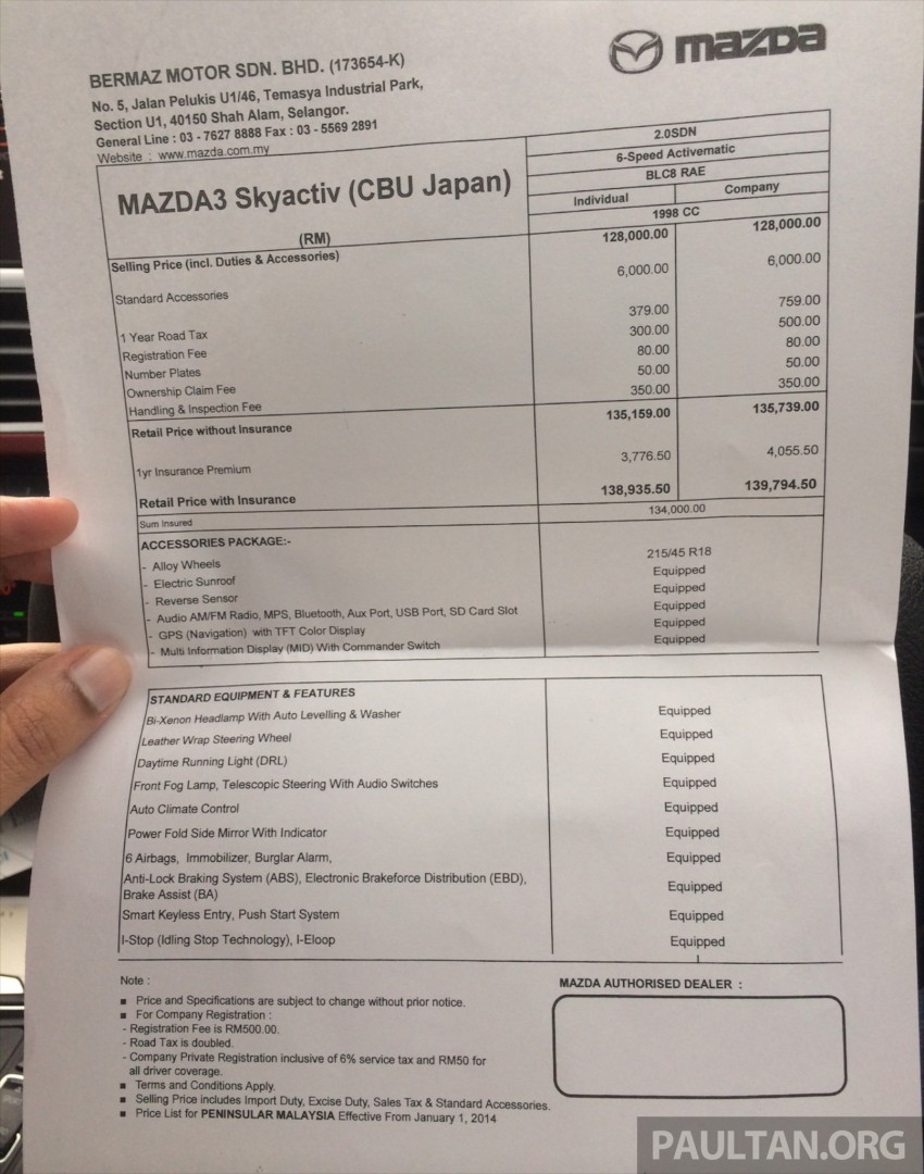 GALLERY: 2014 Mazda 3 CBU in Glenmarie showroom Image #224325