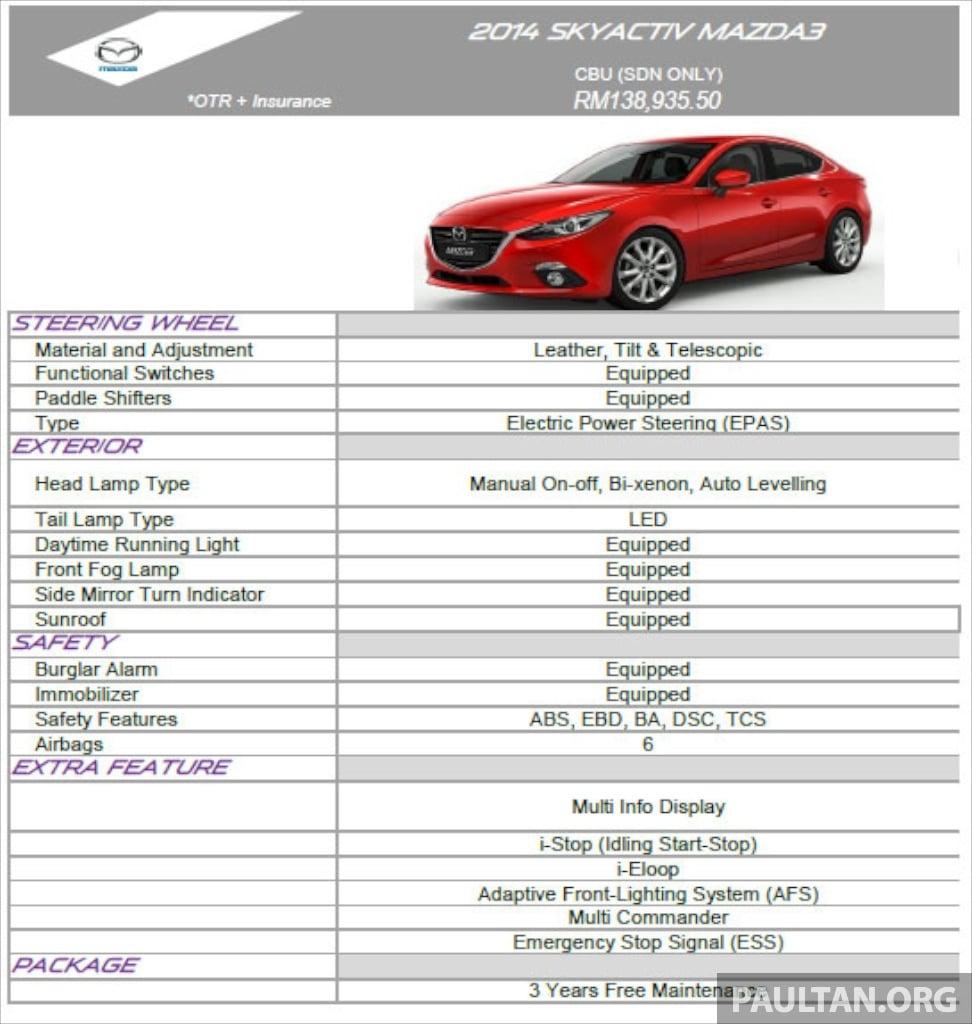 Mazda 3 Sedan Malaysian Specs Revealed In Slides Image 222368