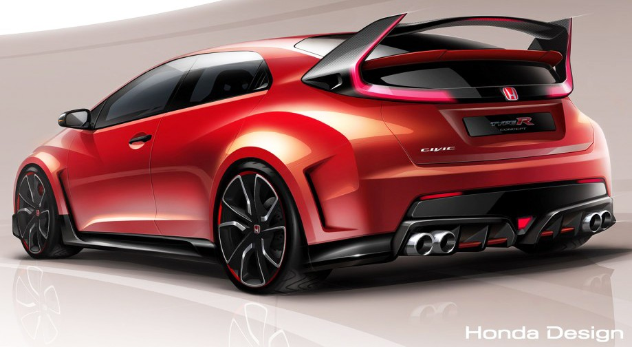 honda civic type r 2015 teaser sketch. Black Bedroom Furniture Sets. Home Design Ideas