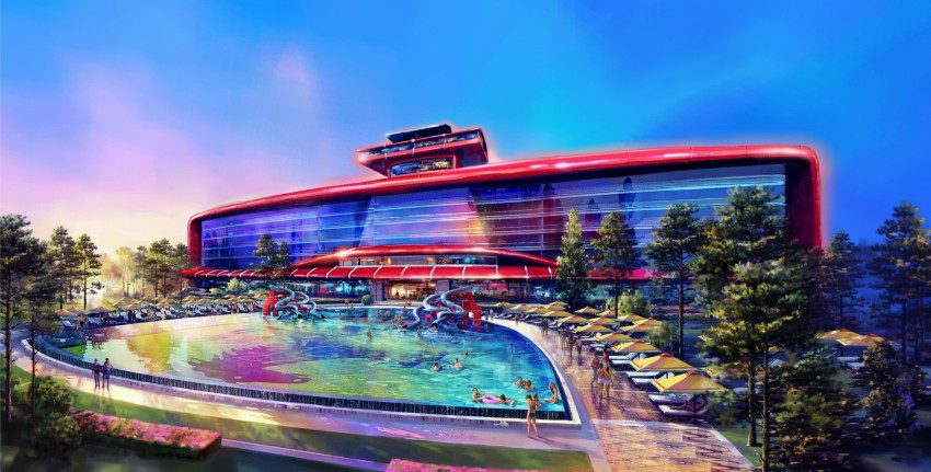 Hotel Based On F1 Car Design For Ferrari Land
