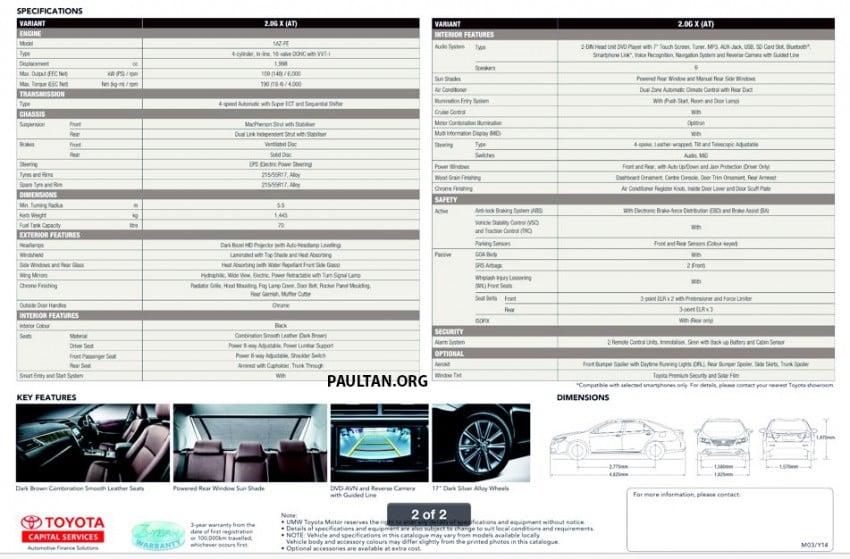 Toyota Camry 2.0 G X – brochure revealed Image #236845