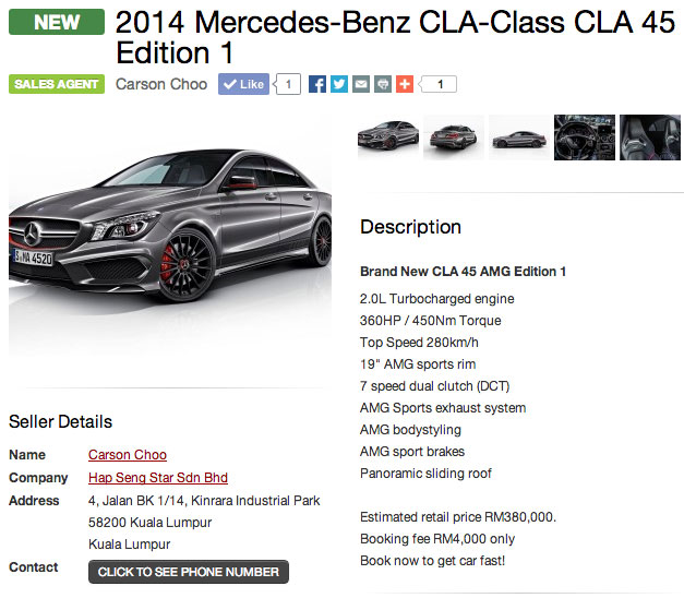 2014 mercedes benz cla 45 amg on rm380k for Mercedes benz cla class price