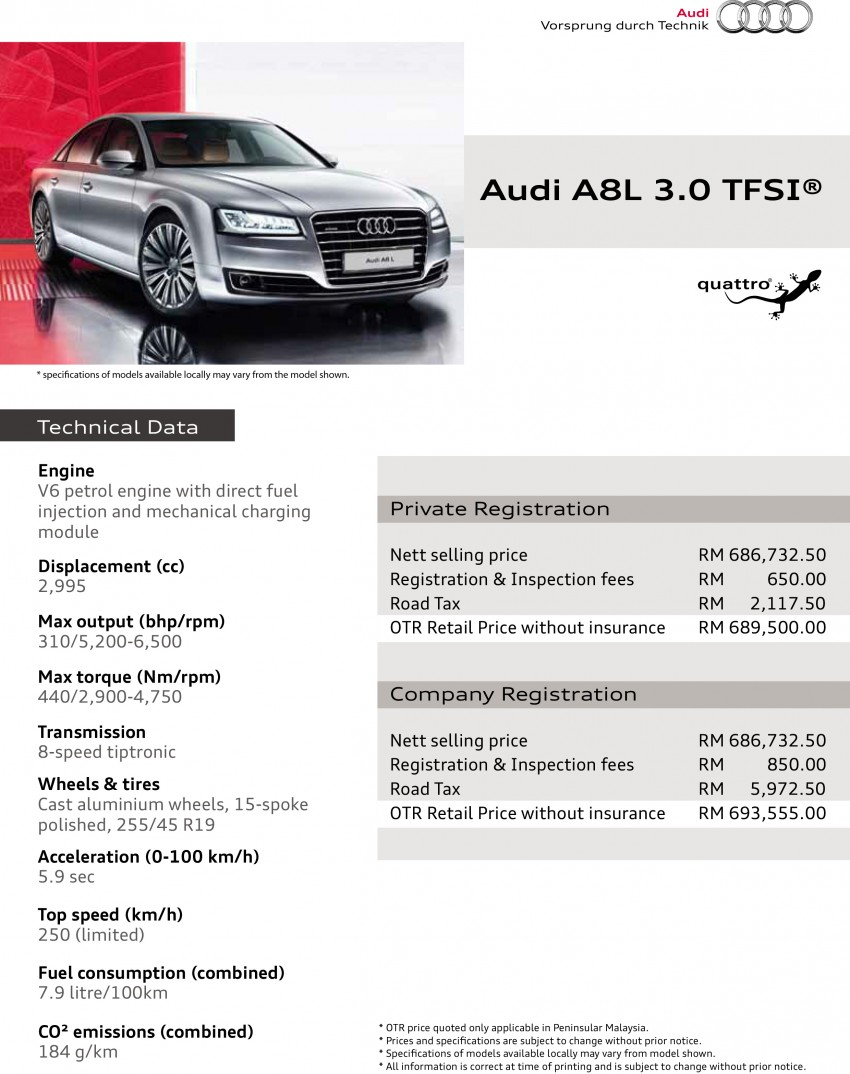 Audi A8 L 3.0 TFSI facelift price revealed – RM690k Image #250922