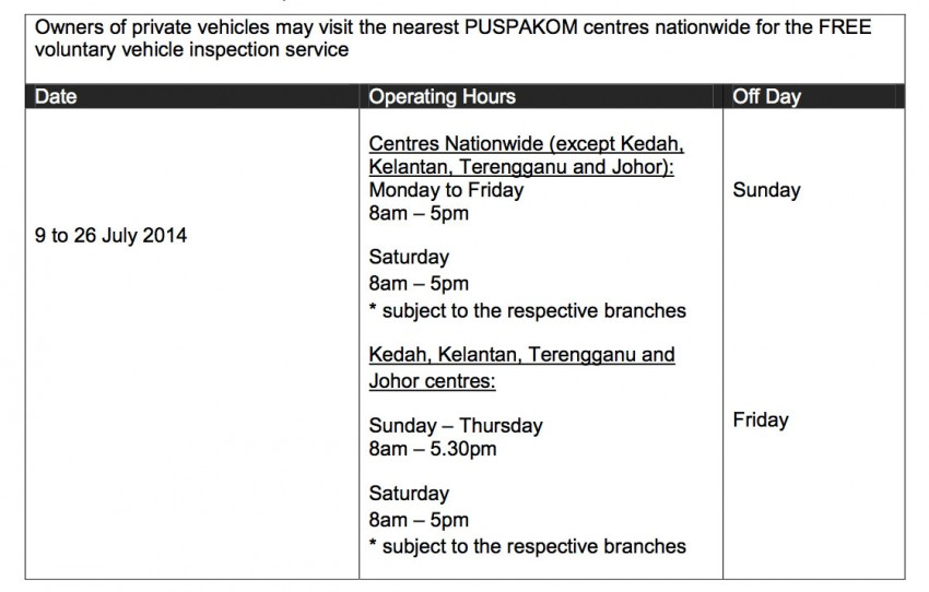 Puspakom offering free vehicle inspection for Raya Image #257480