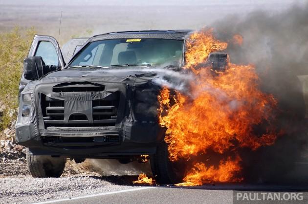 Spyshots Ford Super Duty Truck On Fire In The Desert