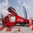 Pajero Sport VGT showing off its capabilities on the giant obstacle ramp
