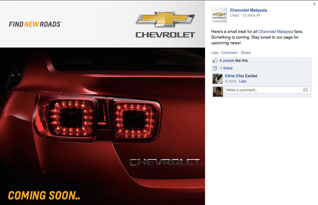 Chevrolet Cruze Price In Malaysia >> Chevrolet Malaysia teases Malibu on FB, coming soon