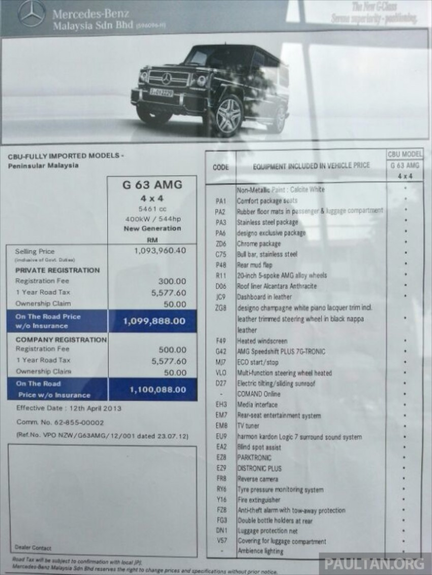 Mercedes-Benz G 63 AMG in Malaysia – RM1.1 million Image #270612