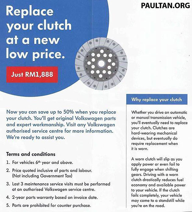 Volkswagen Malaysia Clutch Replacement package - RM1,888