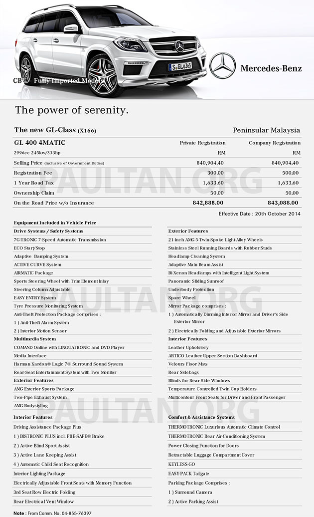 mercedes benz s class malaysia price list