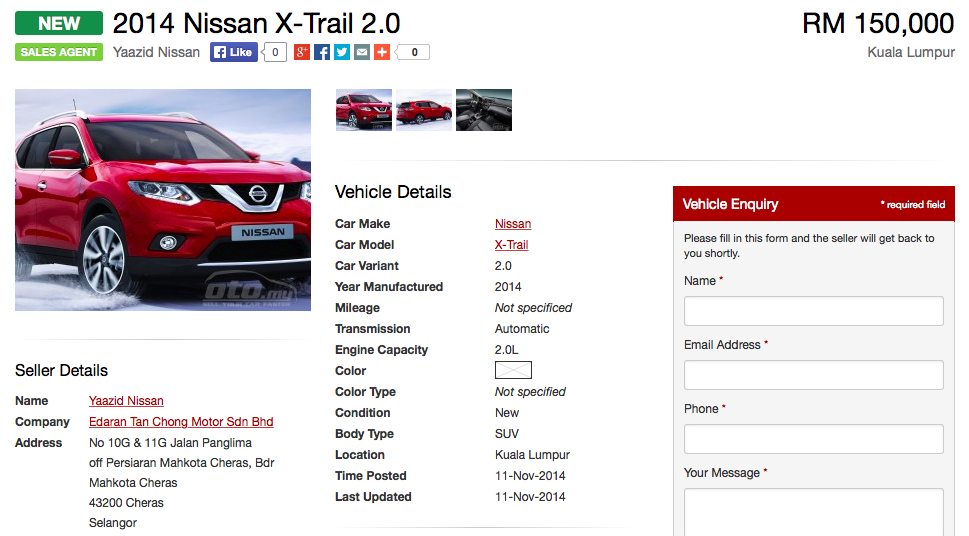 2015 Nissan X Trail Spotted On Oto My Sub Rm150k Image