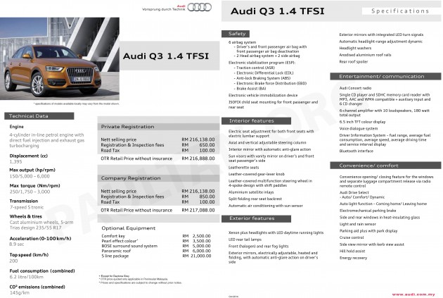audi q3 1 4 tfsi price specs appear on website rm216 888. Black Bedroom Furniture Sets. Home Design Ideas