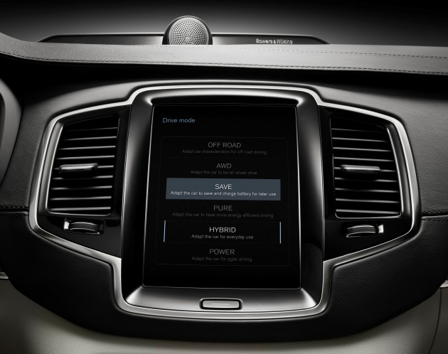 The all-new Volvo XC90 Twin Engine - drive modes on centre screen