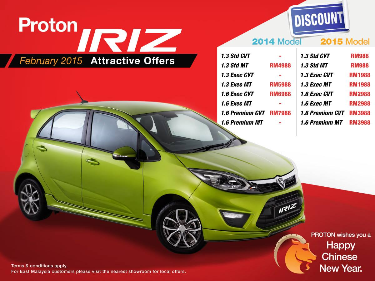 Proton Iriz CNY discounts – offers of up to RM7,988 off ...