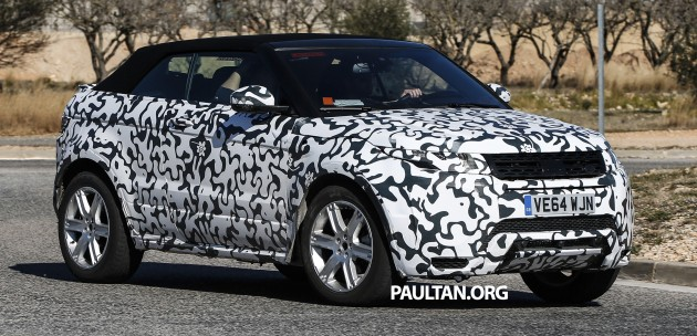 spied range rover evoque convertible on test. Black Bedroom Furniture Sets. Home Design Ideas