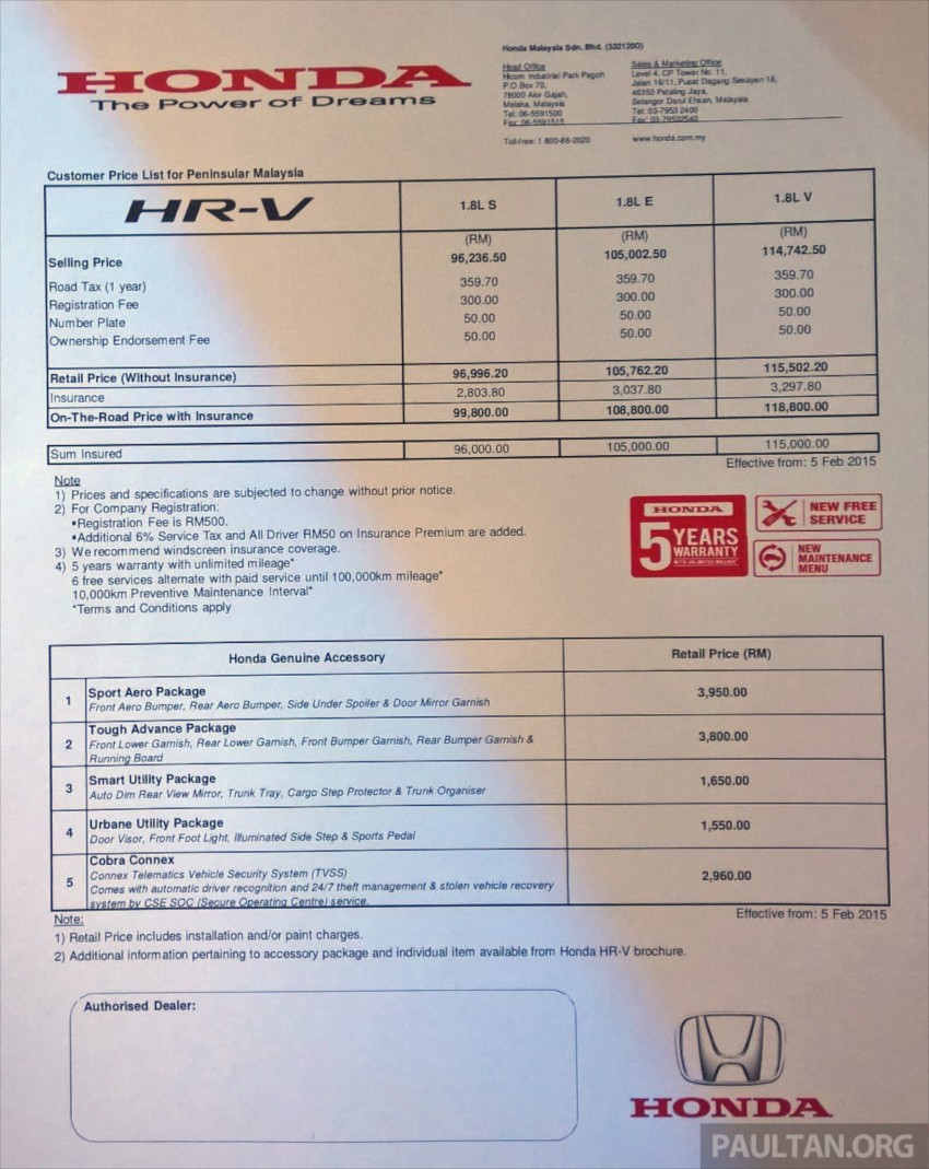 2015 Honda Hr V Launched In Malaysia From Rm100k Paul Tan Image Electrical Wiring Diagram 1996 Cr 309588