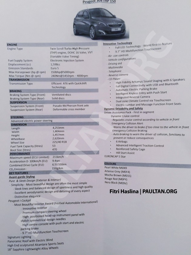 2015 Peugeot 308 Spec Sheet