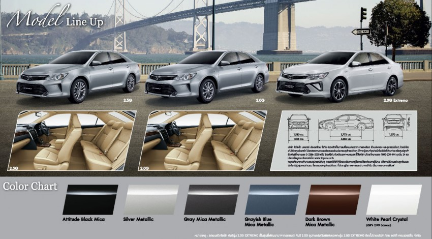 2015 Toyota Camry facelift range launched in Thailand – gets new 2.0L VVT-iW D-4S engine and 6-speed auto Image #317780