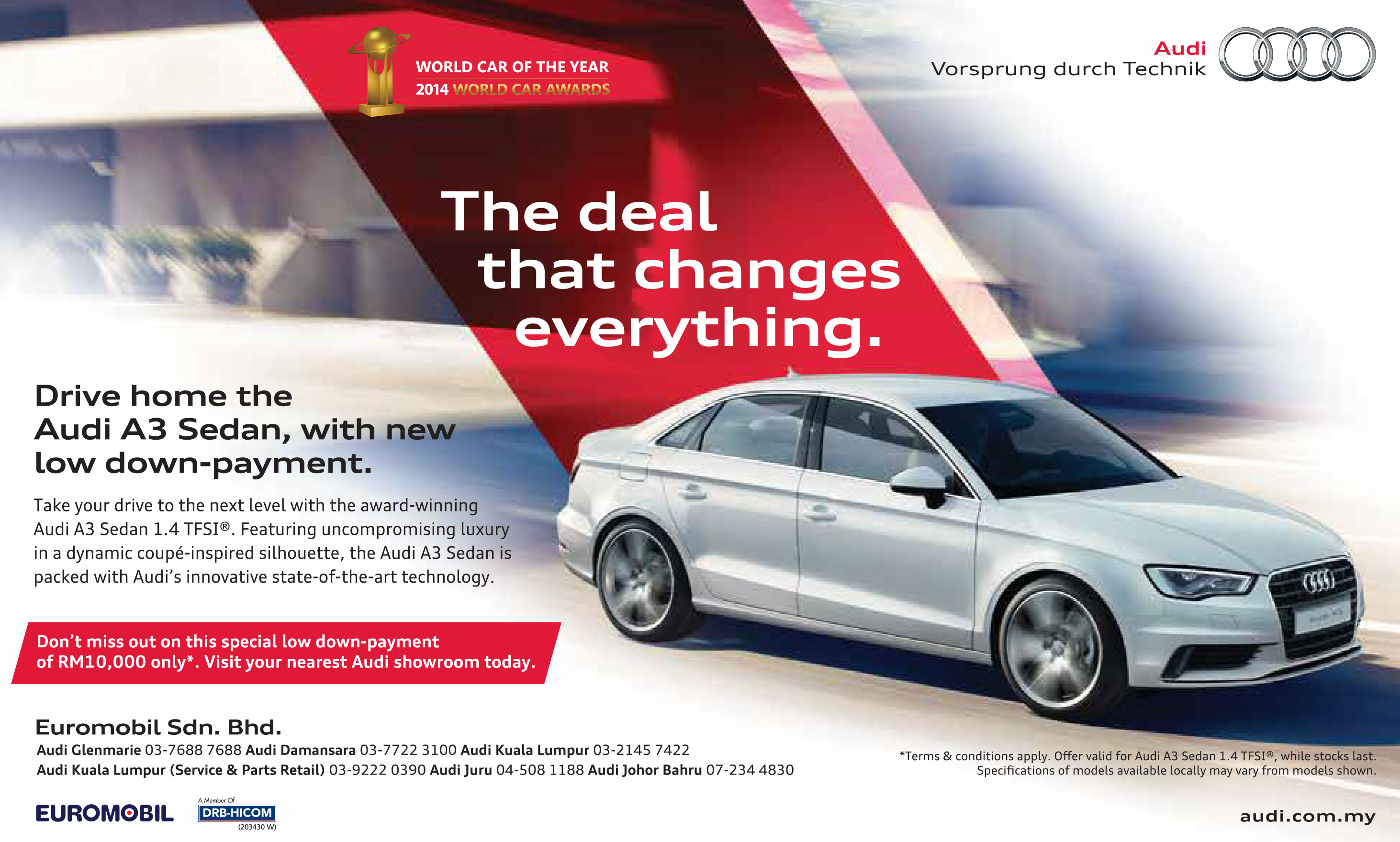 Low Down Payment Car Insurance >> AD: Audi A3 Sedan with special RM10k down-payment promo