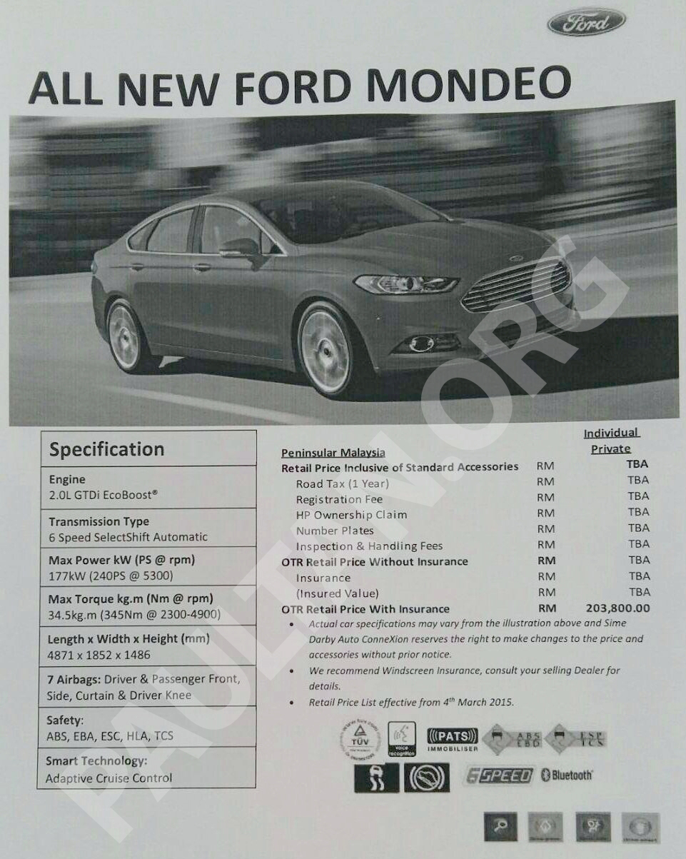 2015 Ford Mondeo Ecoboost Malaysian Specification And