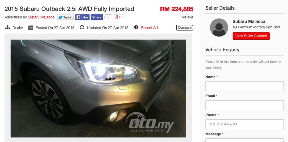 Subaru Outback >> 2015 Subaru Outback 2.5i AWD on oto.my for RM225k Paul Tan - Image 333412