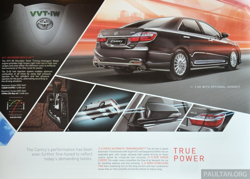 2015 Toyota Camry launched in Malaysia – new 6-spd 2.0E RM150k, 2.0G RM160k, 2.5 Hybrid RM175k Image #323971