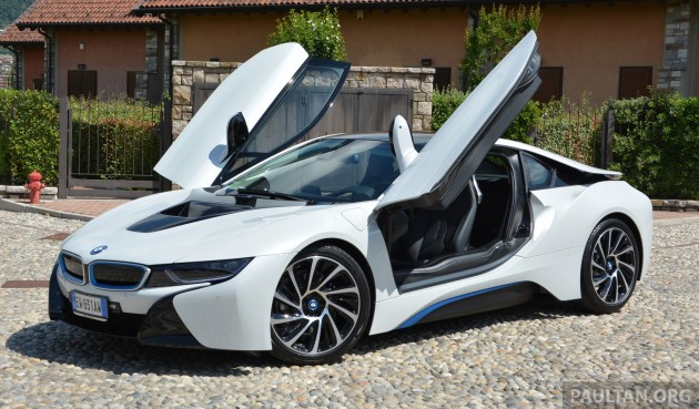 driven bmw i8 plug in hybrid sports car in milan. Black Bedroom Furniture Sets. Home Design Ideas