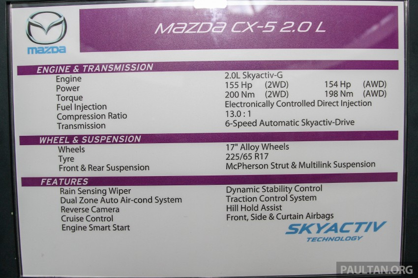 Mazda CX-5 GL launched, new base variant at RM126k Image #326428