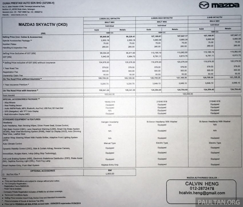 Mazda 3 CKD launched in Malaysia, RM106k-121k Image #326189