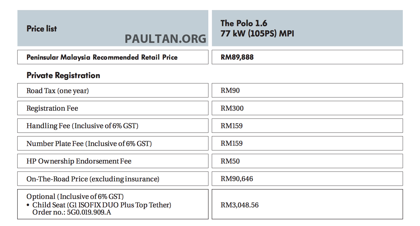 gst no change in volkswagen malaysia�s retail prices